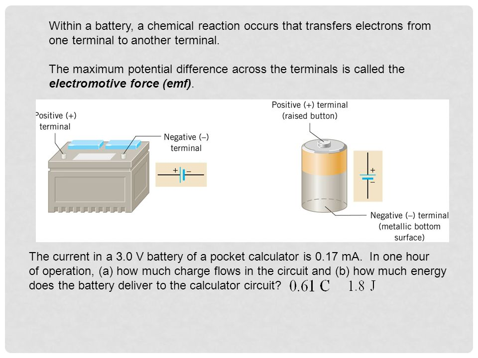Within a battery, a chemical reaction occurs that transfers electrons from