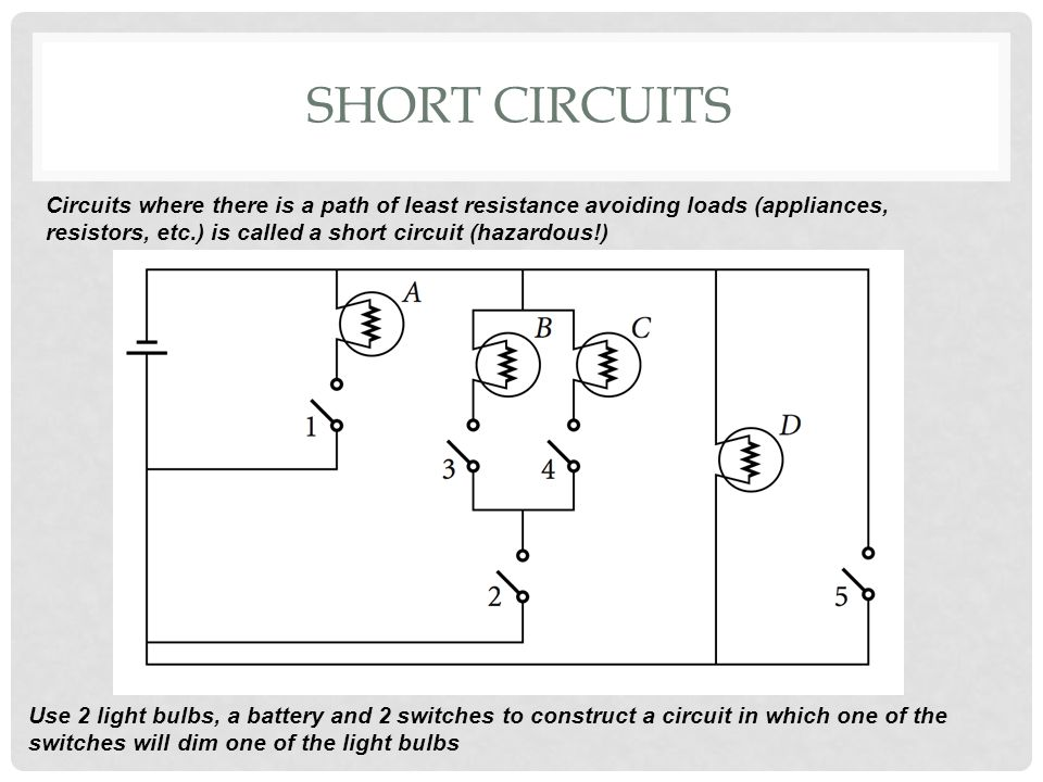 Short Circuits Circuits where there is a path of least resistance avoiding loads (appliances, resistors, etc.) is called a short circuit (hazardous!)