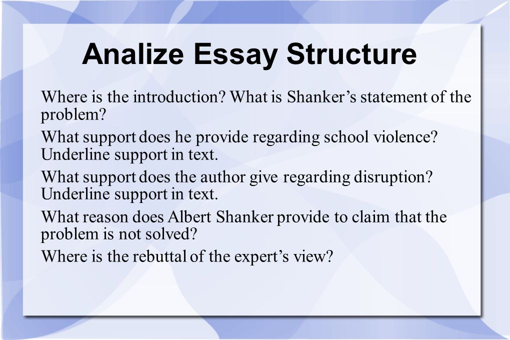 Analize Essay Structure