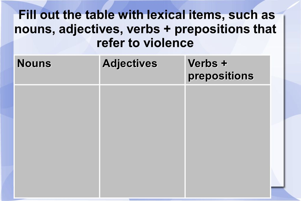 Fill out the table with lexical items, such as nouns, adjectives, verbs + prepositions that refer to violence