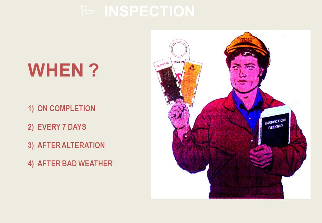 WHEN INSPECTION 1) ON COMPLETION 2) EVERY 7 DAYS 3) AFTER ALTERATION