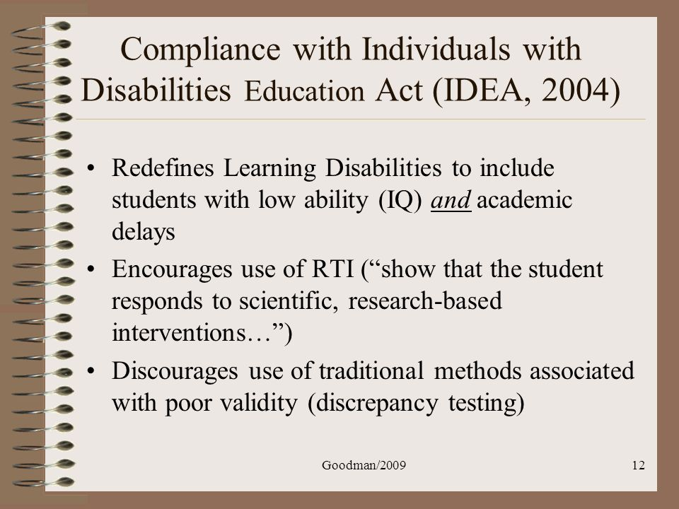Compliance with Individuals with Disabilities Education Act (IDEA, 2004)