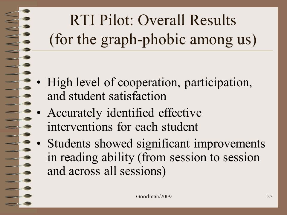 RTI Pilot: Overall Results (for the graph-phobic among us)