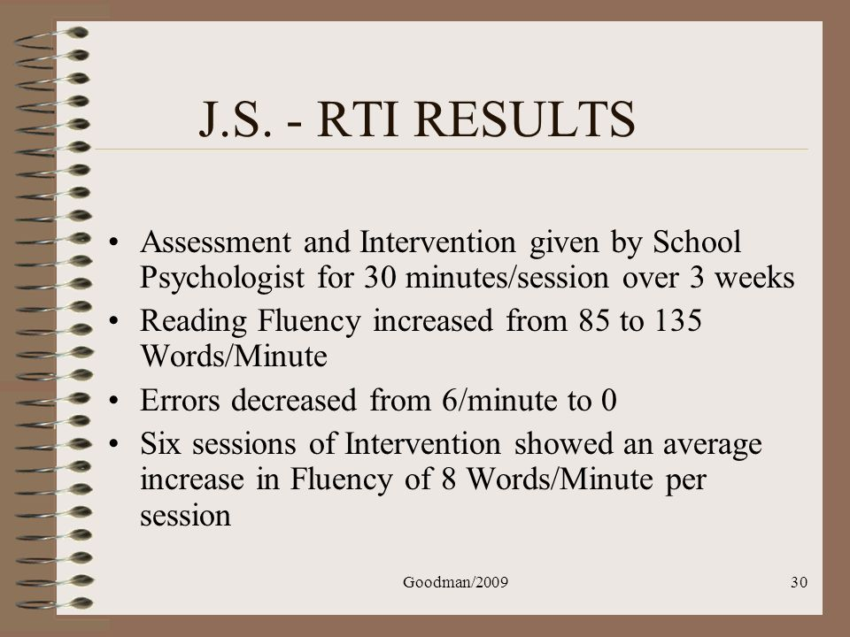 J.S. - RTI RESULTS Assessment and Intervention given by School Psychologist for 30 minutes/session over 3 weeks.