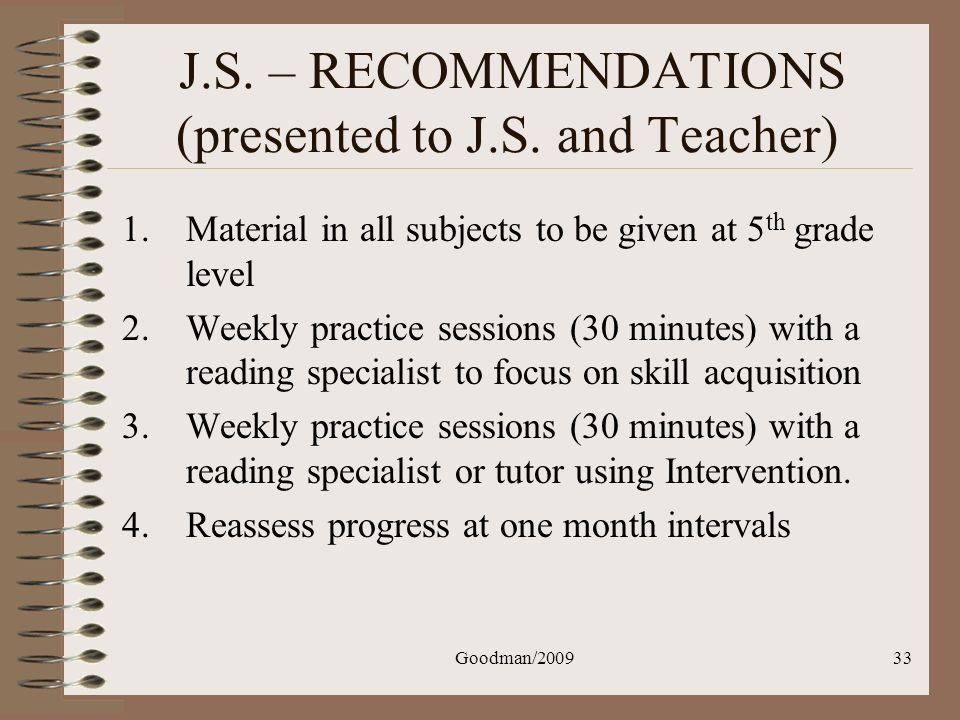 J.S. – RECOMMENDATIONS (presented to J.S. and Teacher)