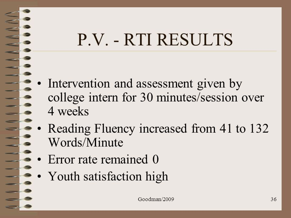 P.V. - RTI RESULTS Intervention and assessment given by college intern for 30 minutes/session over 4 weeks.
