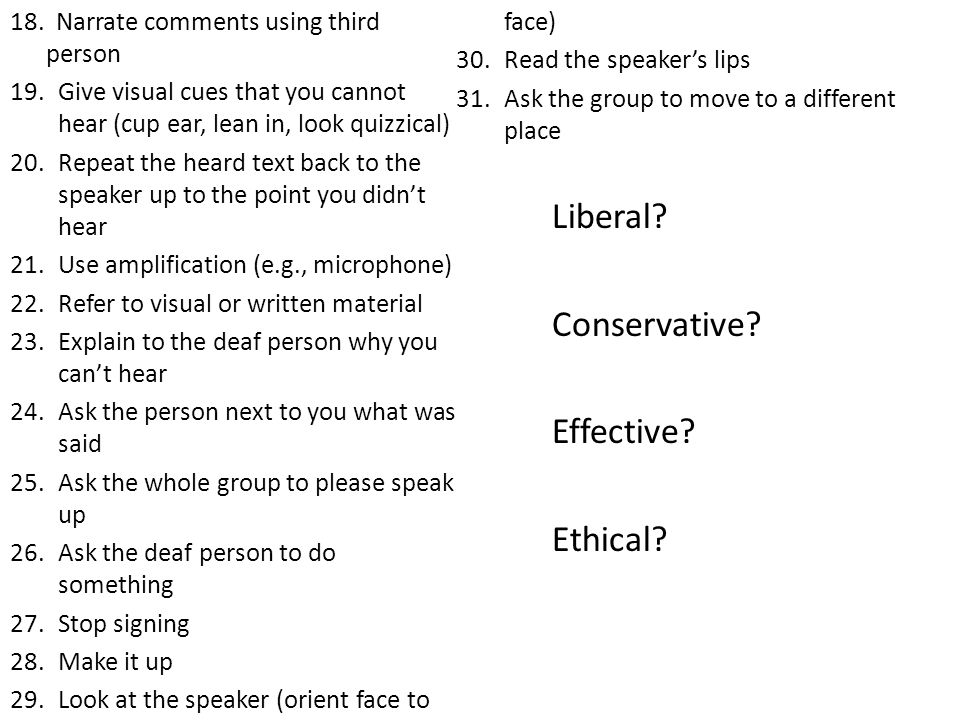Liberal Conservative Effective Ethical