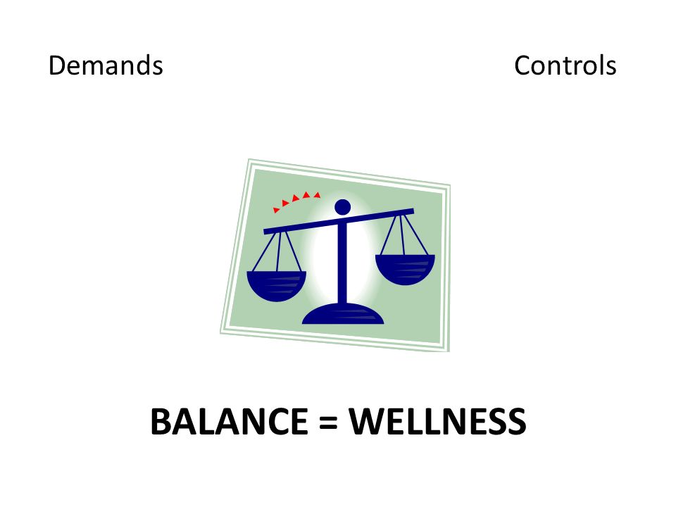 Demands Controls BALANCE = WELLNESS