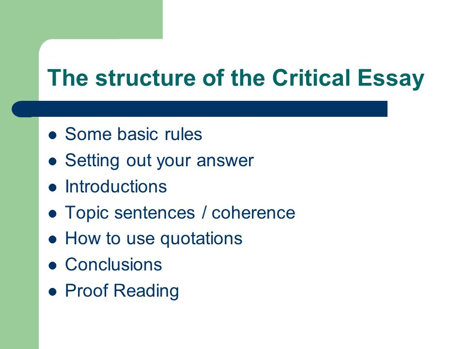 The structure of the Critical Essay