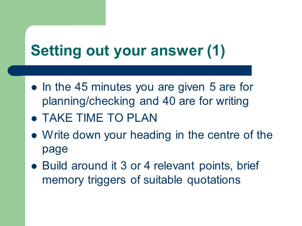 Setting out your answer (1)