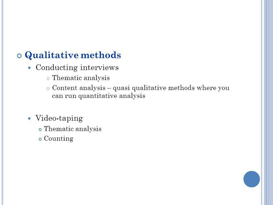 Qualitative methods Conducting interviews Video-taping