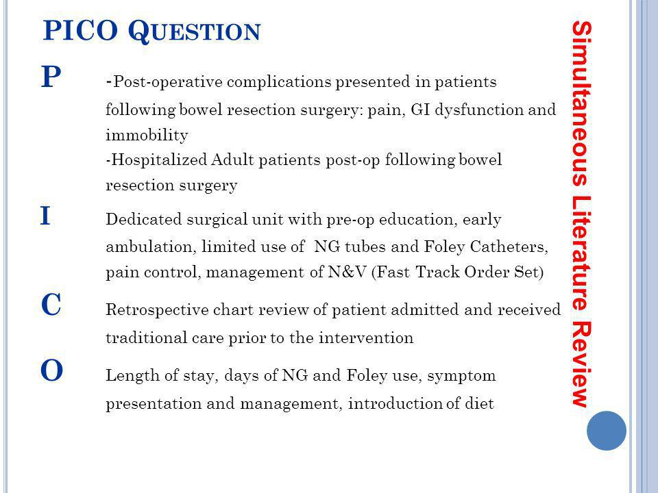 P -Post-operative complications presented in patients