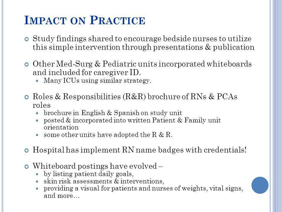 Impact on Practice Study findings shared to encourage bedside nurses to utilize this simple intervention through presentations & publication.