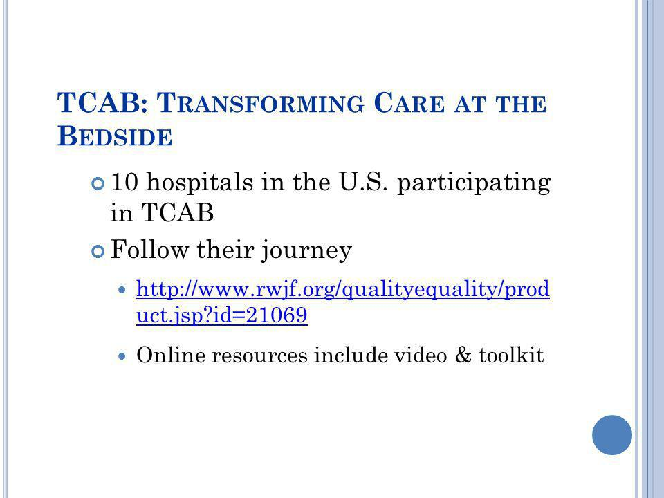 TCAB: Transforming Care at the Bedside