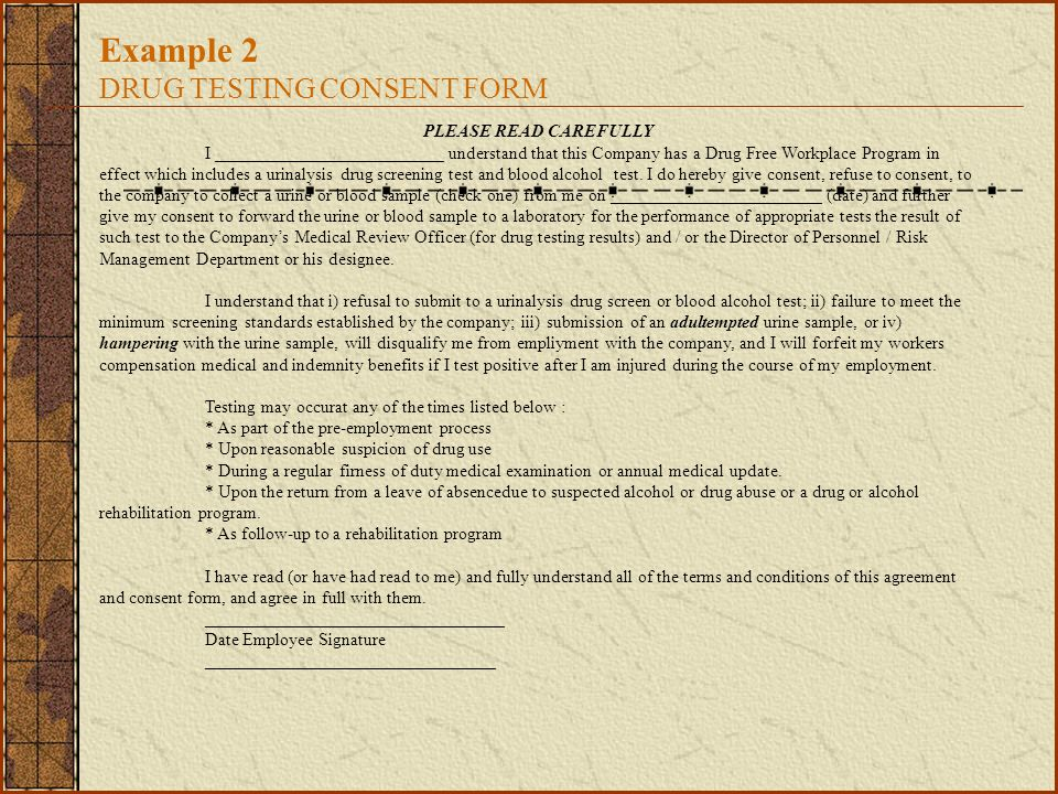 Example 2 DRUG TESTING CONSENT FORM
