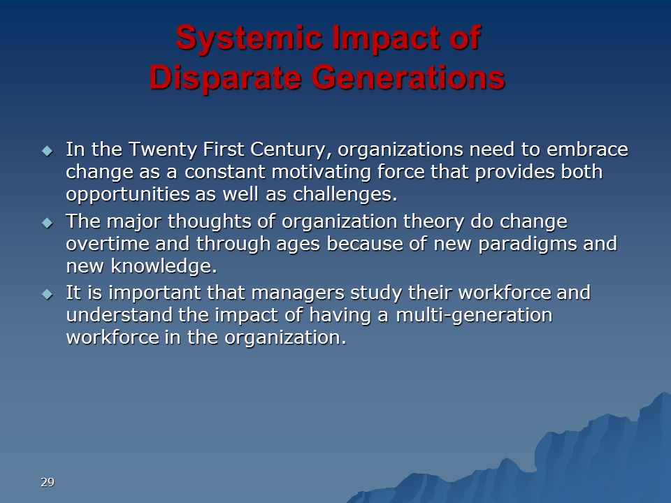 Systemic Impact of Disparate Generations