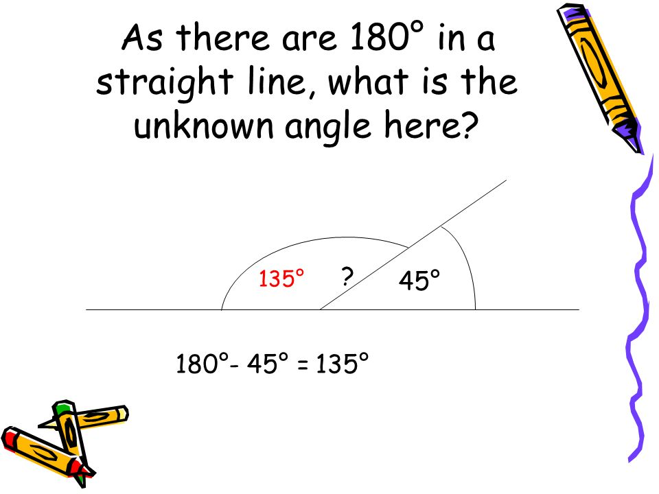 As there are 180° in a straight line, what is the unknown angle here