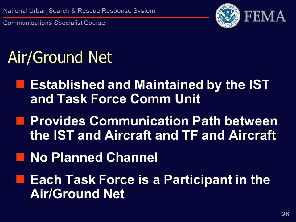 Air/Ground Net Established and Maintained by the IST and Task Force Comm Unit.