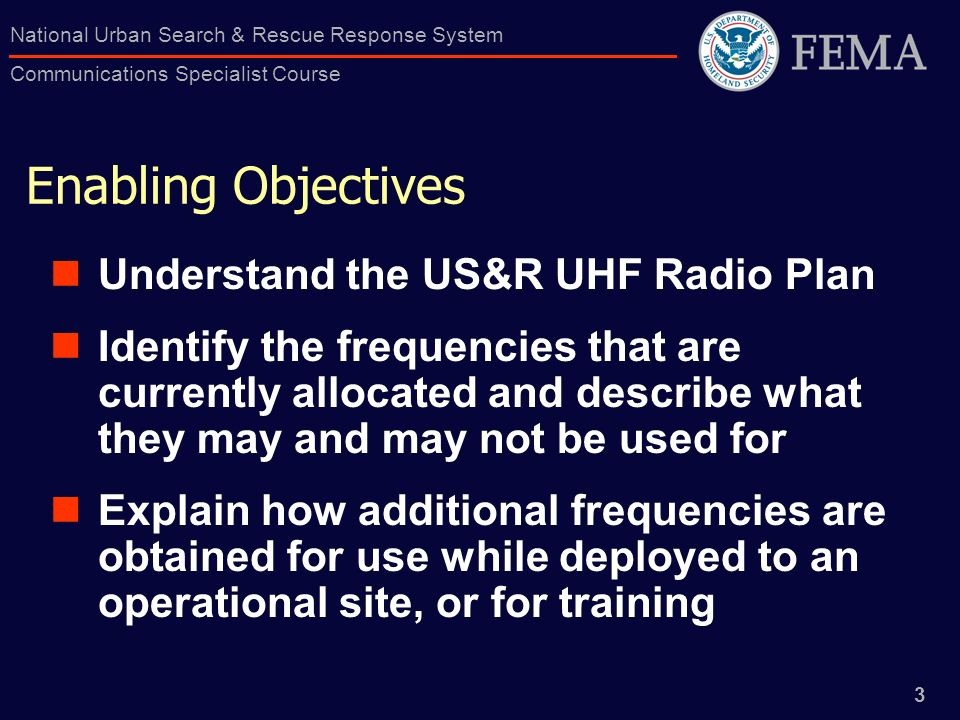 Enabling Objectives Understand the US&R UHF Radio Plan