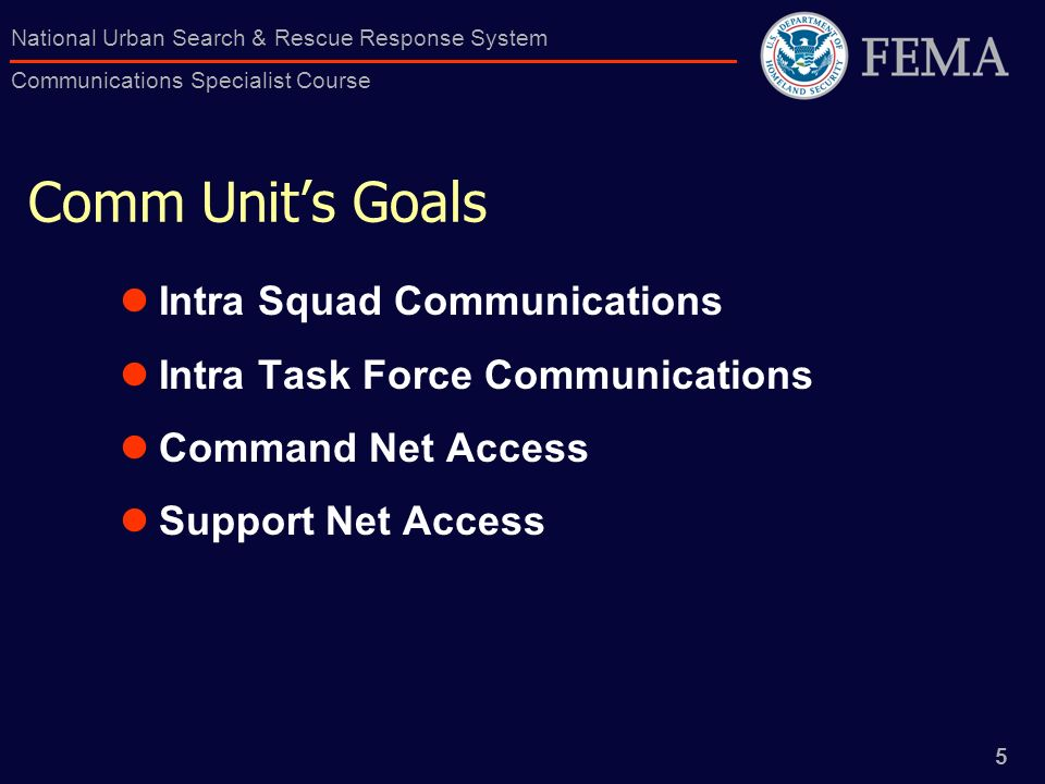 Comm Unit's Goals Intra Squad Communications
