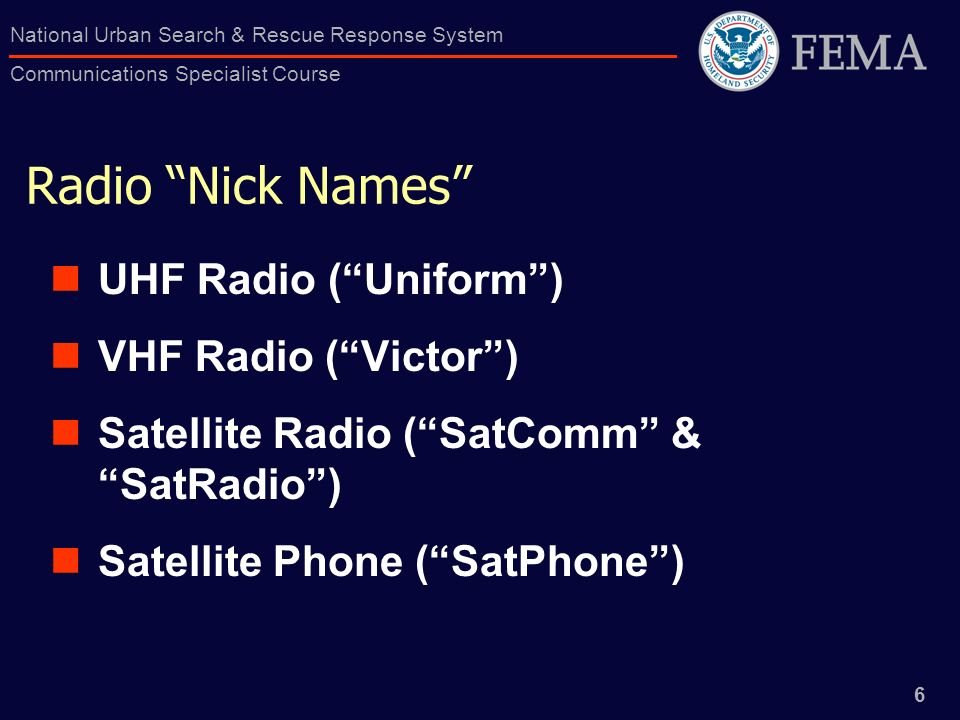 Radio Nick Names UHF Radio ( Uniform ) VHF Radio ( Victor )