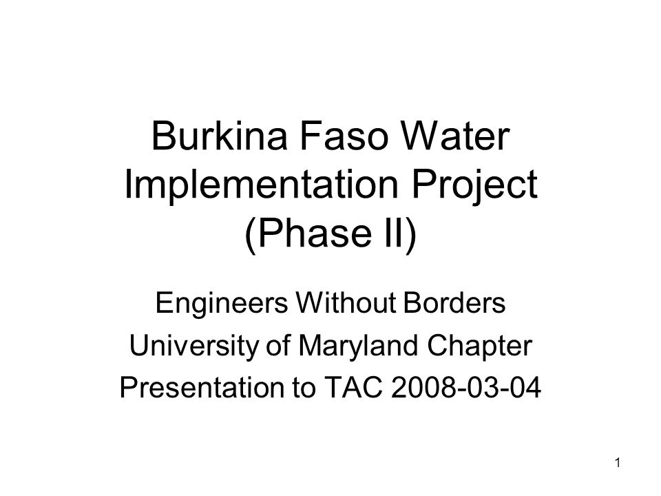 Burkina Faso Water Implementation Project (Phase II)