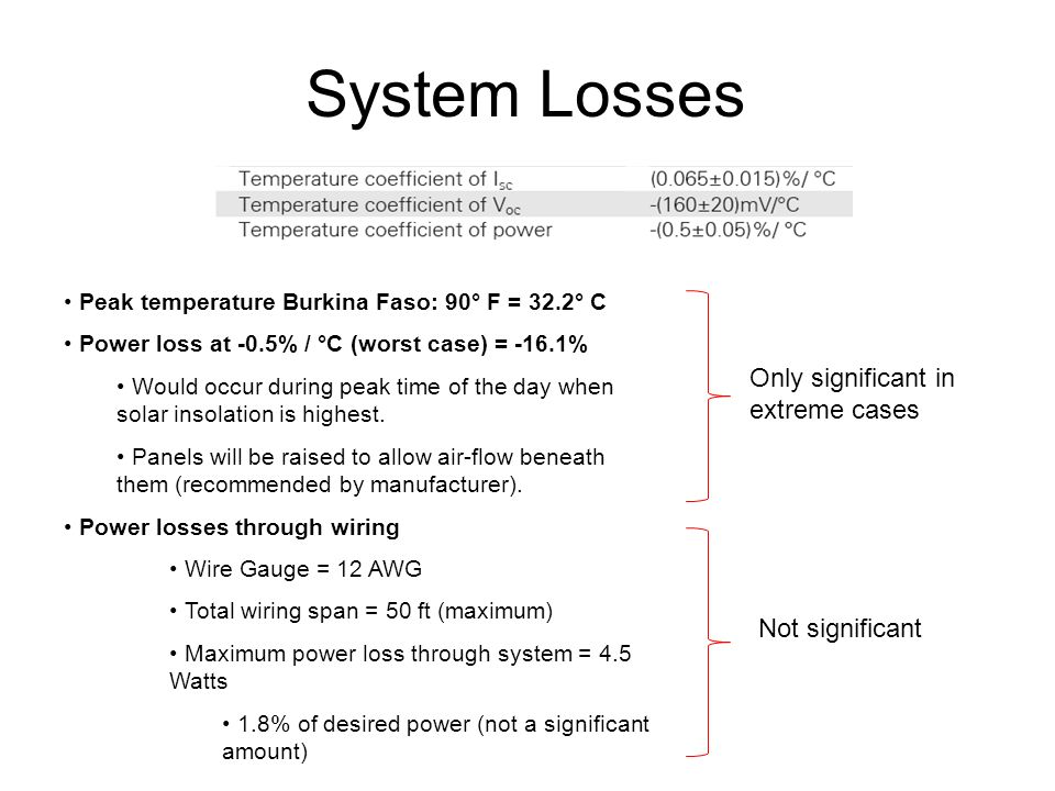 System Losses Only significant in extreme cases Not significant