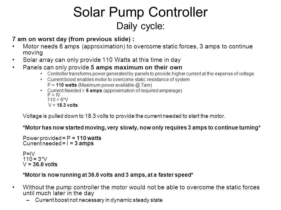 Solar Pump Controller Daily cycle: