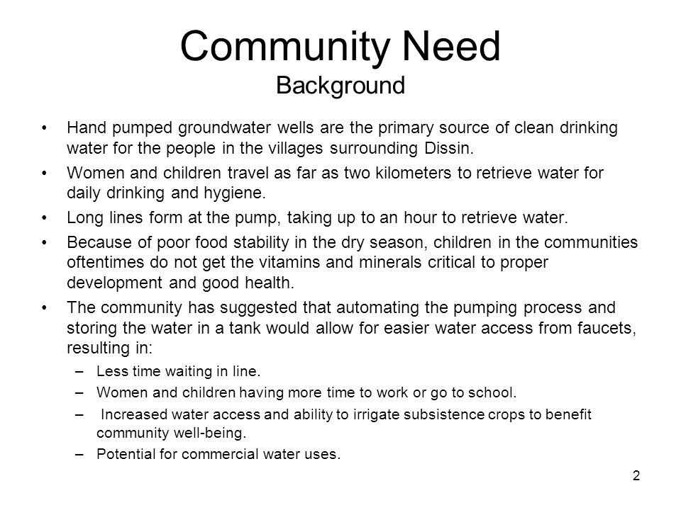 Community Need Background