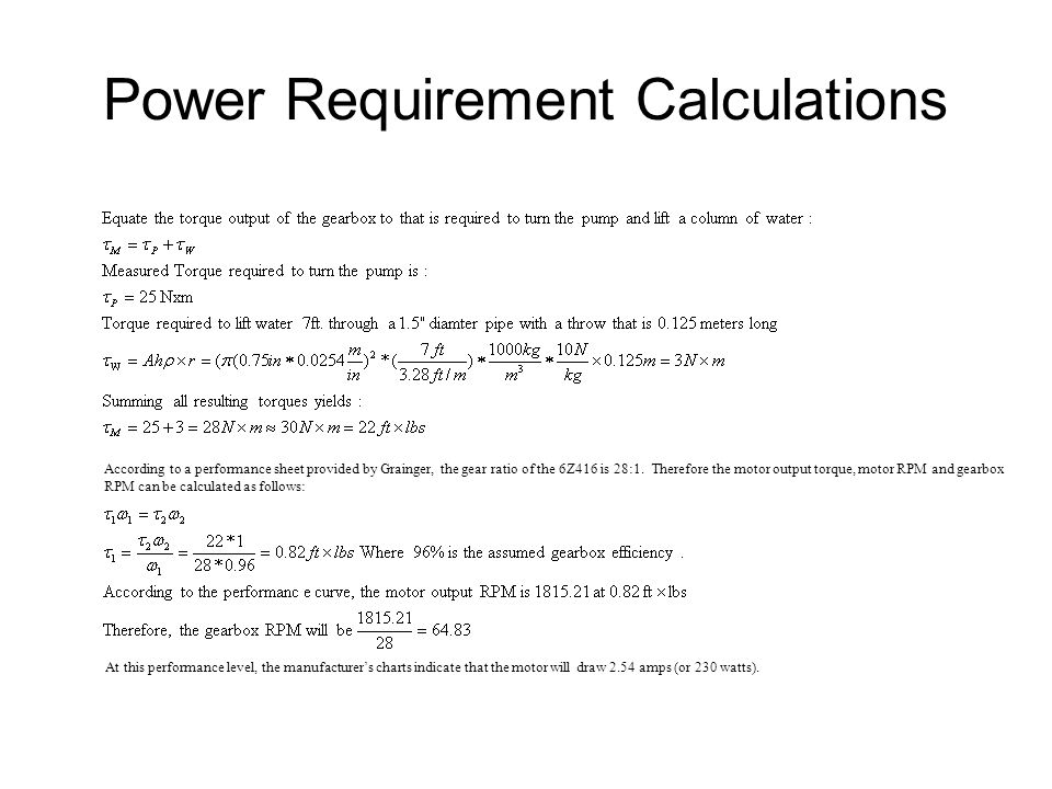 Power Requirement Calculations