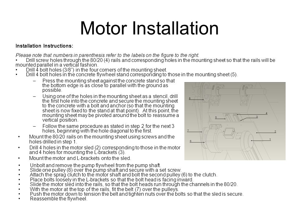 Motor Installation Installation Instructions: