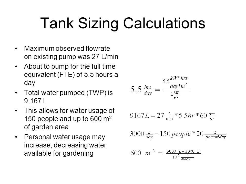 Tank Sizing Calculations