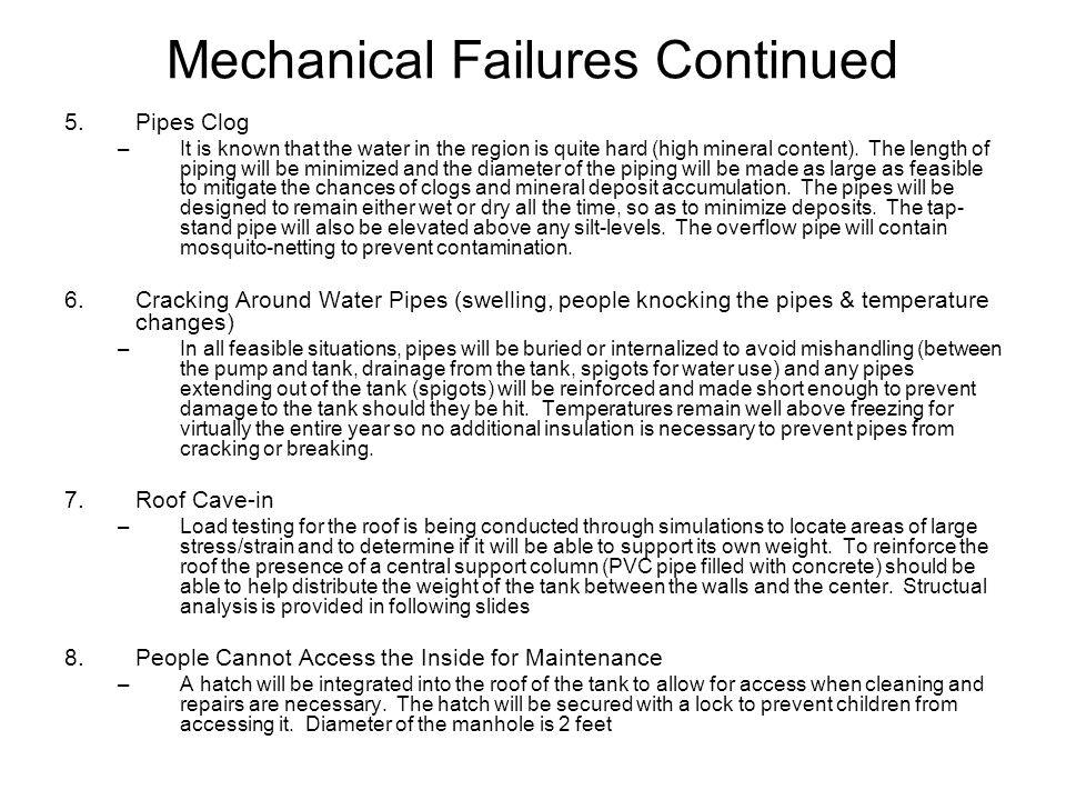 Mechanical Failures Continued