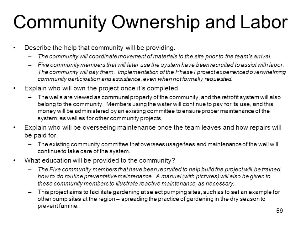 Community Ownership and Labor