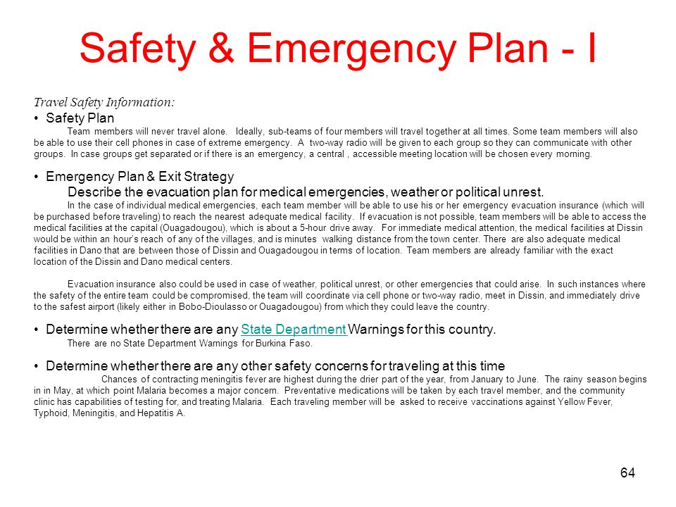 Safety & Emergency Plan - I