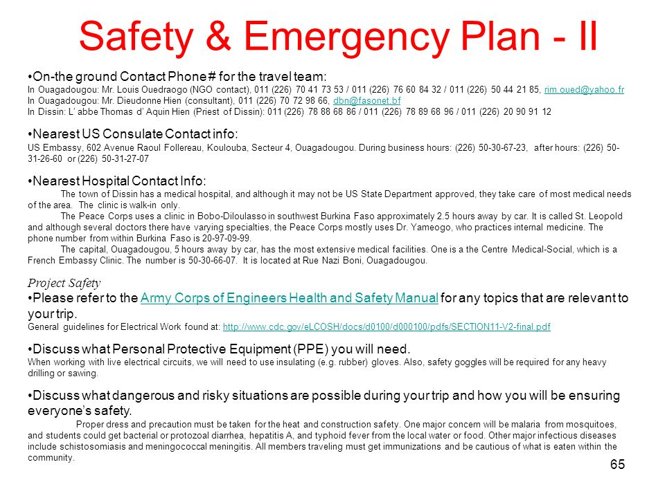 Safety & Emergency Plan - II