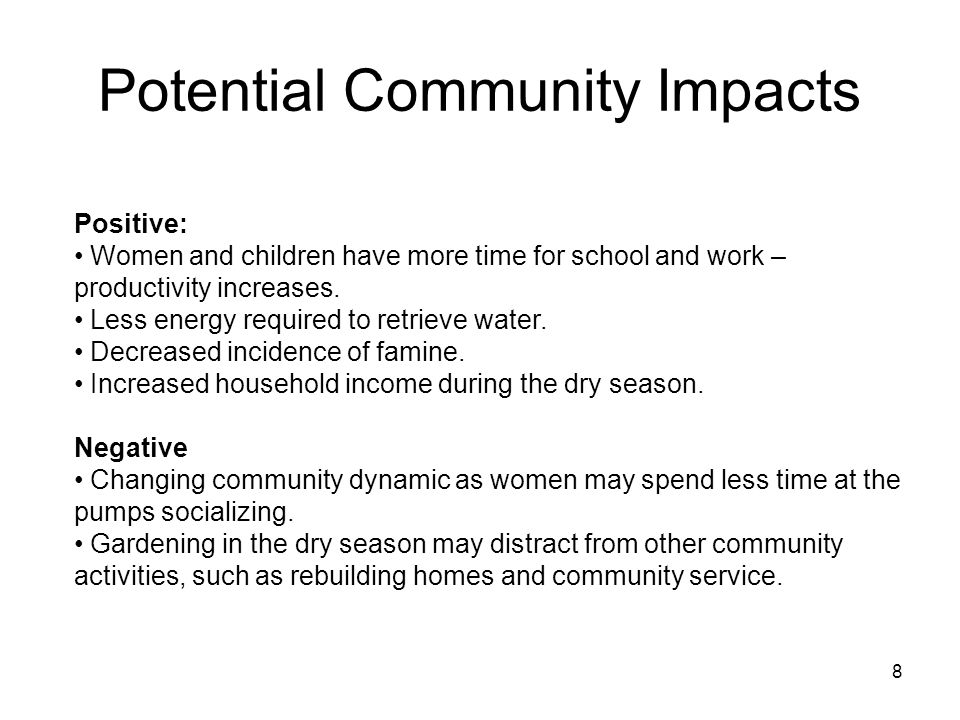 Potential Community Impacts