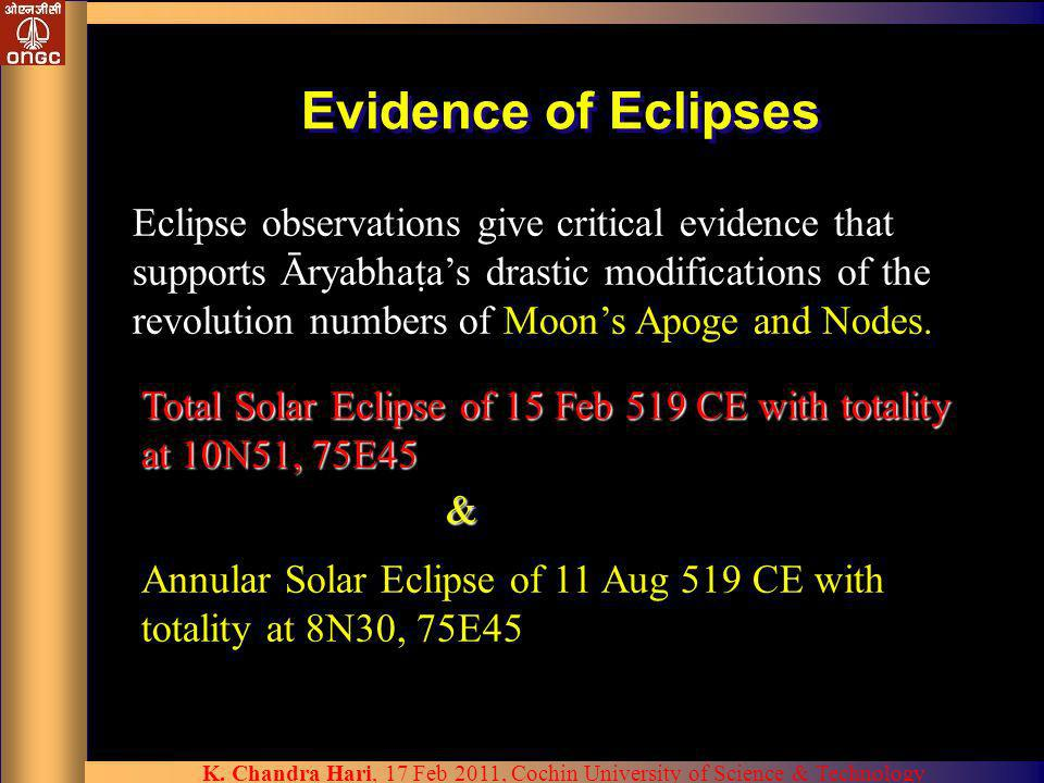 Evidence of Eclipses