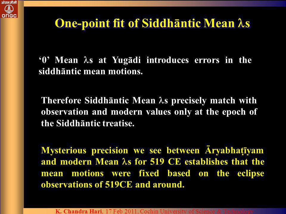 One-point fit of Siddhāntic Mean s