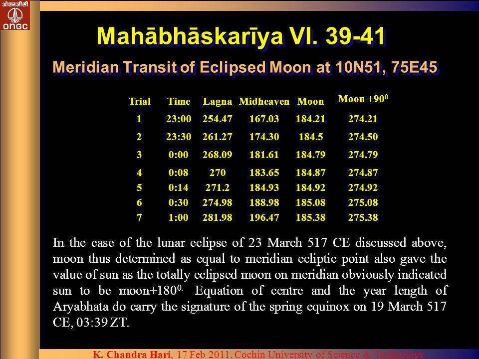 Mahābhāskarīya VI. 39-41 Meridian Transit of Eclipsed Moon at 10N51, 75E45