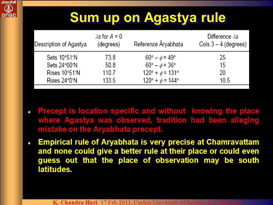 Sum up on Agastya rule