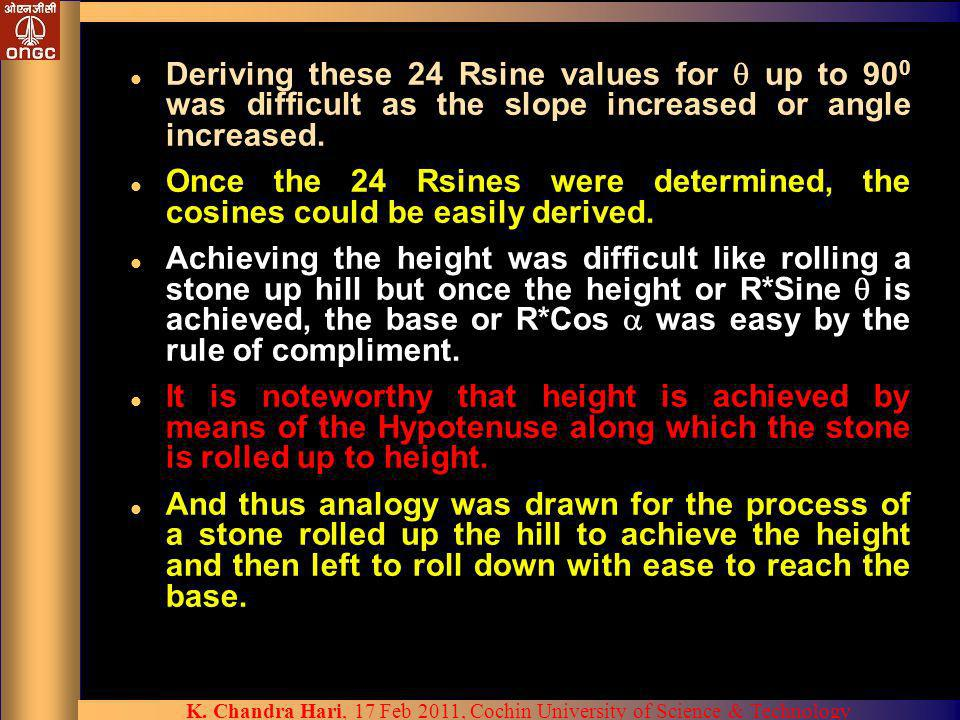 Deriving these 24 Rsine values for  up to 900 was difficult as the slope increased or angle increased.