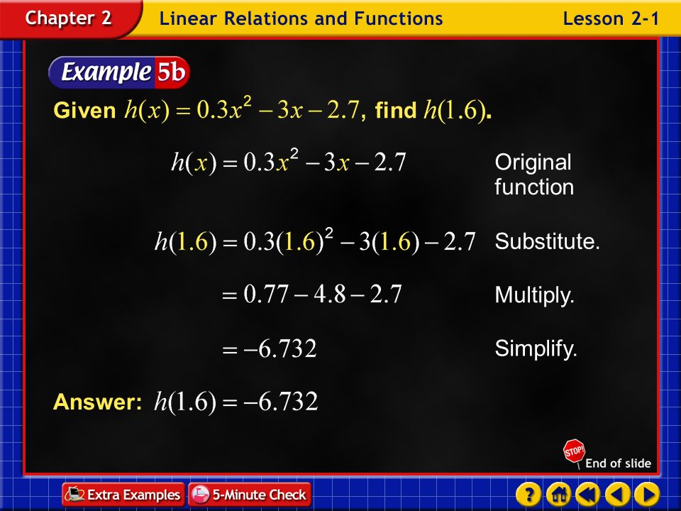 Given find Original function Substitute. Multiply. Simplify. Answer: