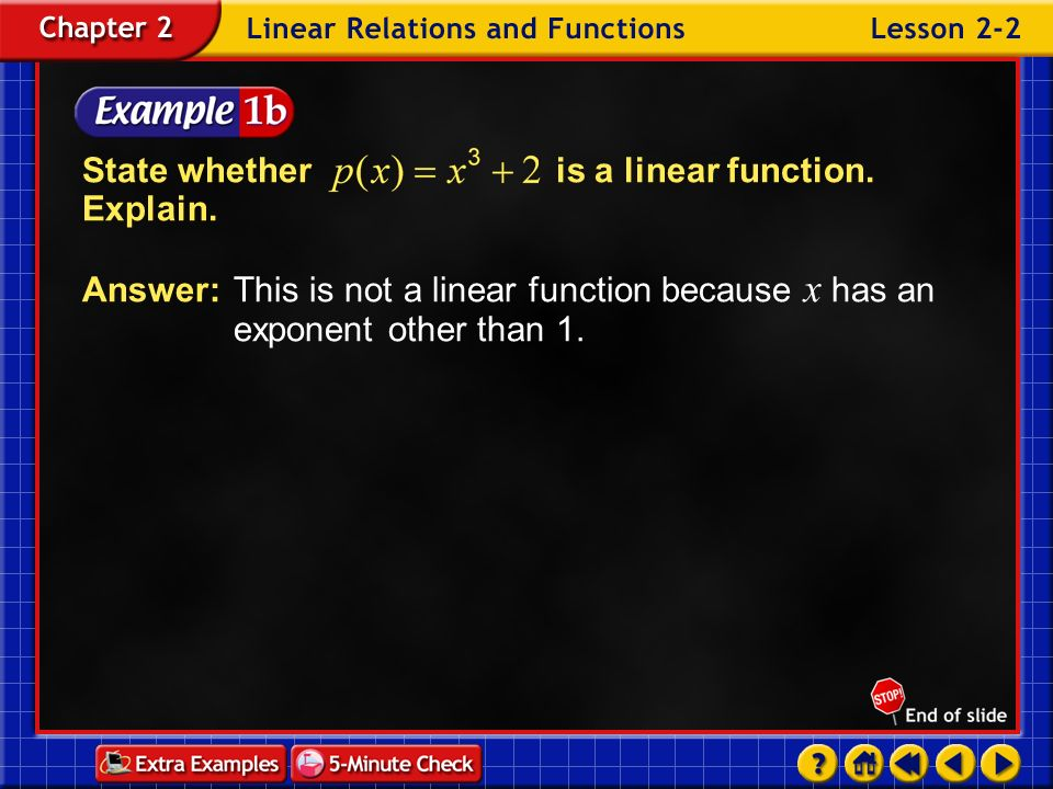 State whether is a linear function. Explain.
