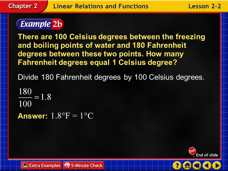 Divide 180 Fahrenheit degrees by 100 Celsius degrees.