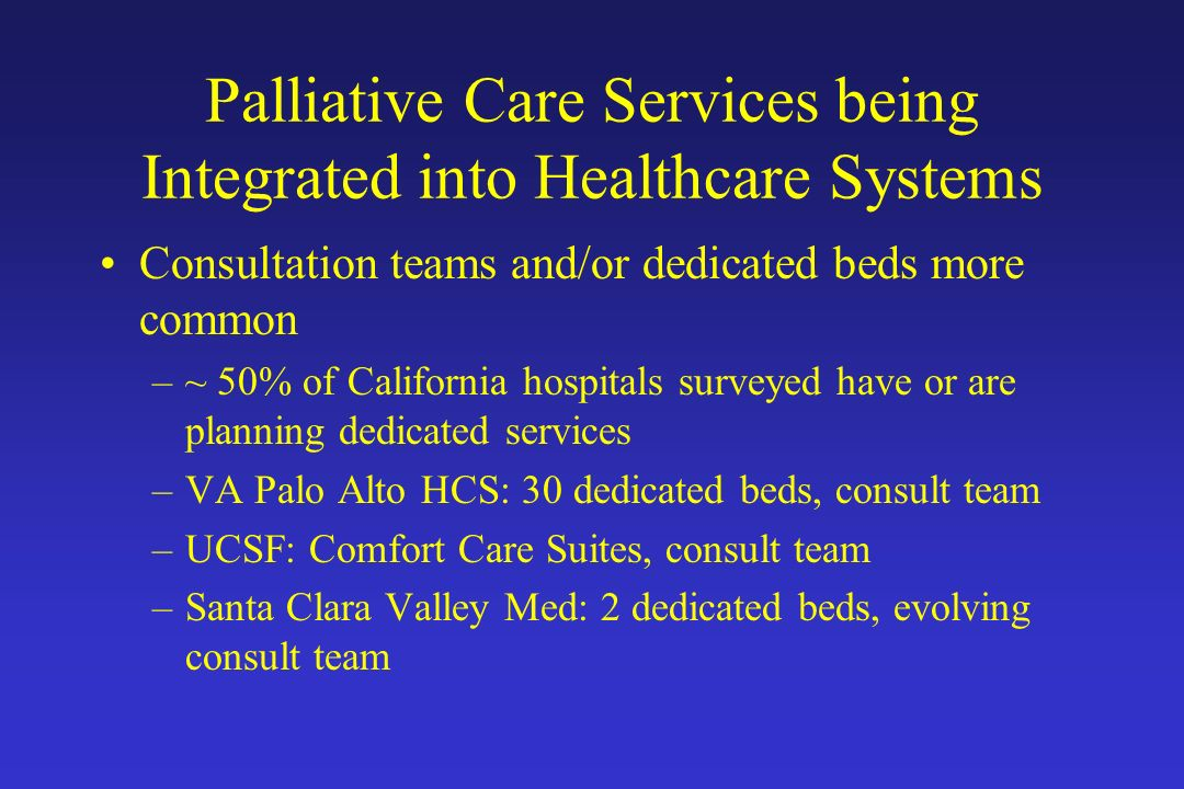 Palliative Care Services being Integrated into Healthcare Systems