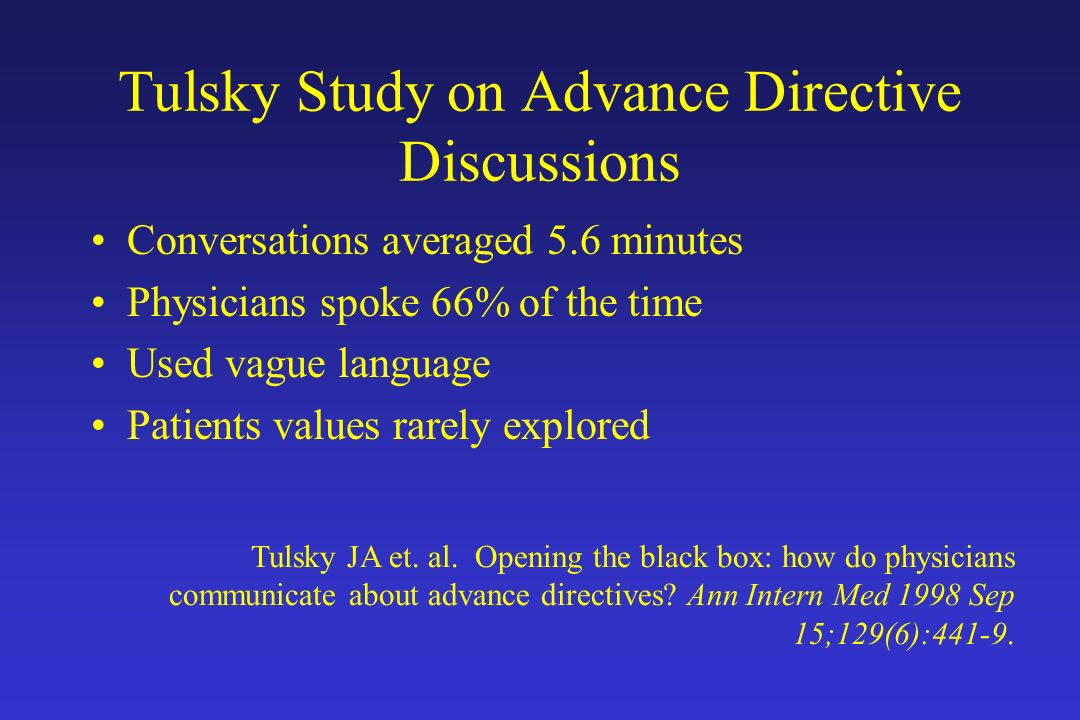 Tulsky Study on Advance Directive Discussions