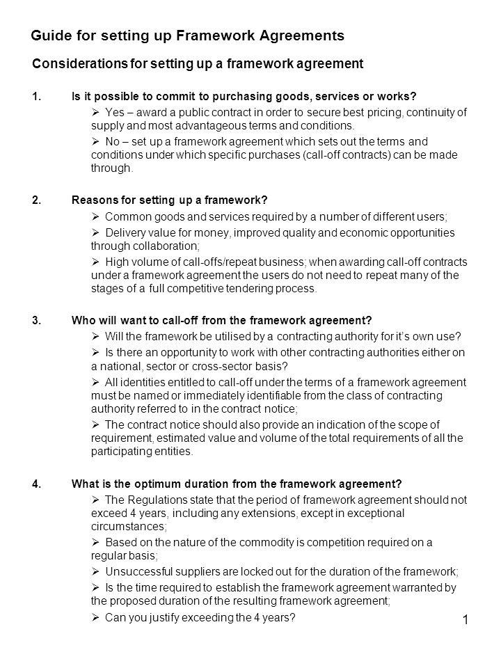 Guide For Setting Up Framework Agreements Ppt Download