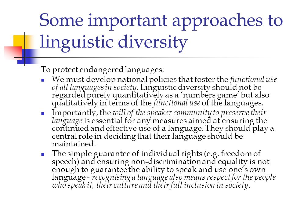 Some important approaches to linguistic diversity