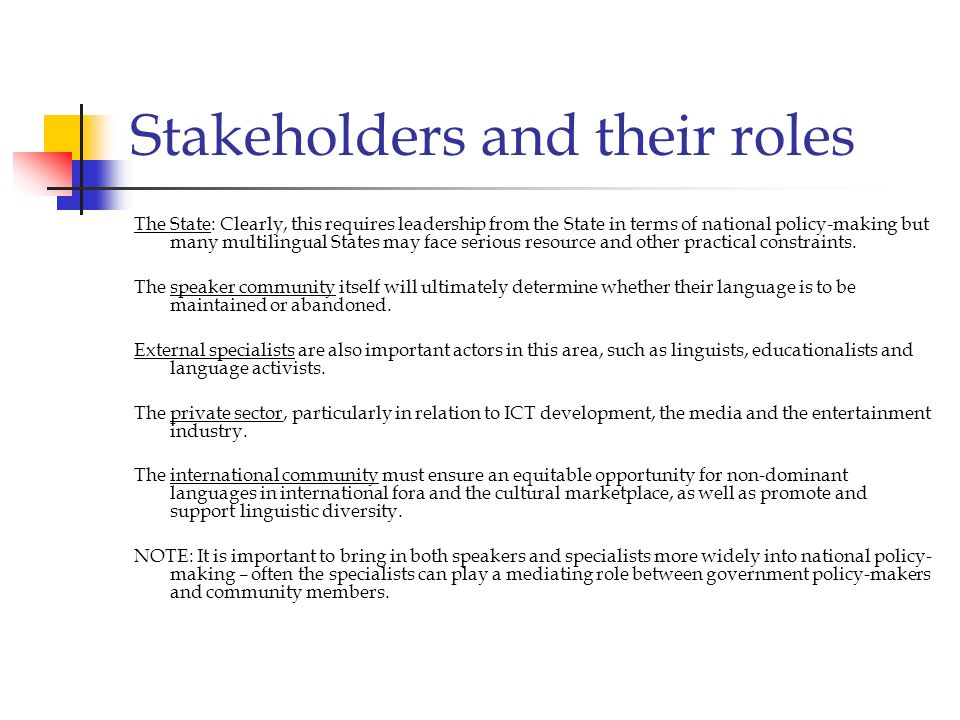 Stakeholders and their roles